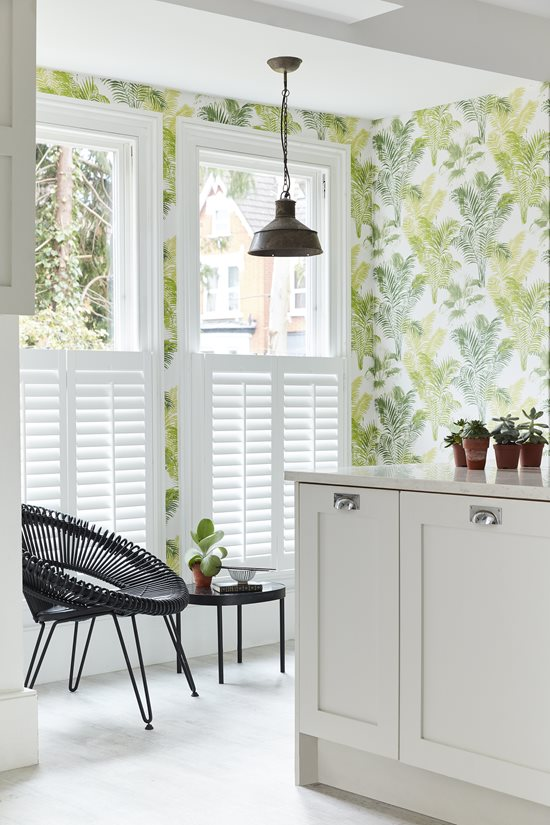cafe style shutters brightening room