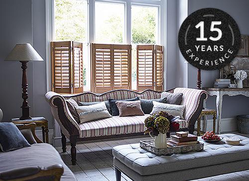 cafe style shutters in premium elm hardwood