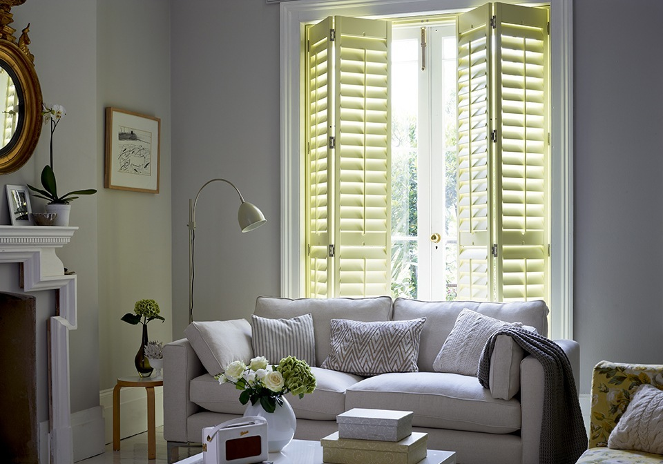 "3 1/2"" slat shutters with central pushrods as lounge doors"