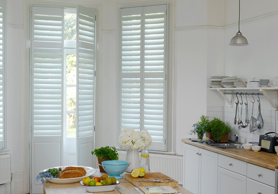 "Half solid raised shutters with 3 1/2"" slats"