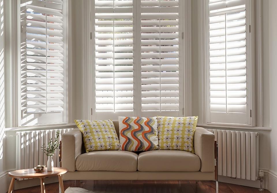 Superb Silk White Bay Window Shutters