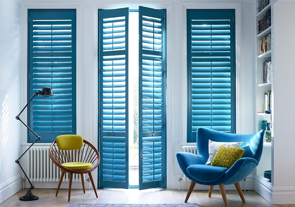 "Full height shutters with 3 1/2"" slats for doors and windows"