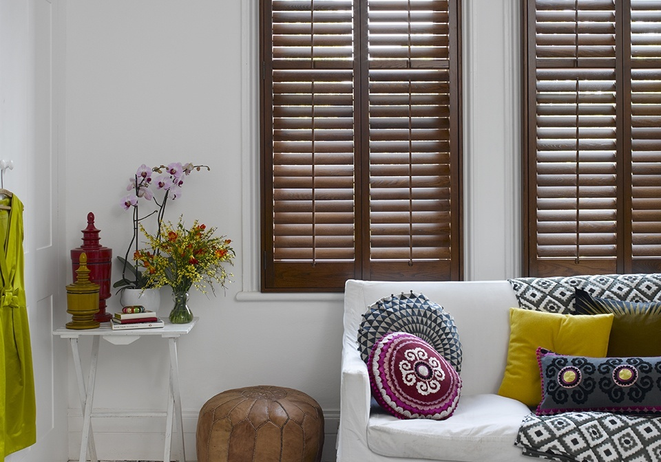"Luxurious dark stained elm shutters with 2 1/2"" slats"