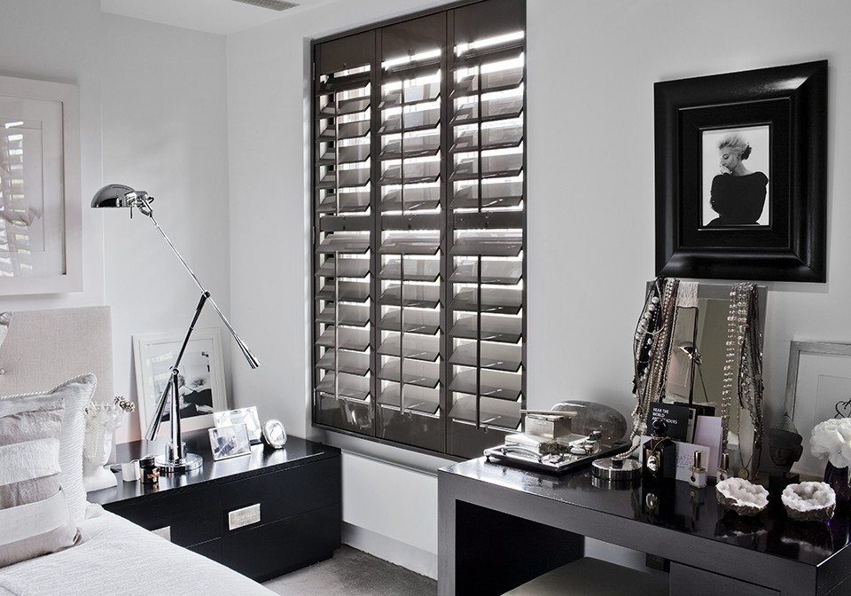 Bedroom Designer Grey Shutters & Designer Collection Window Shutters Gallery | The Shutter Store